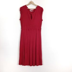Boden Midi Keyhole Twist Front Dress Berry Red